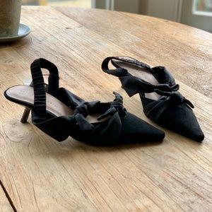 Zara Suede Bow Slingback's - Black